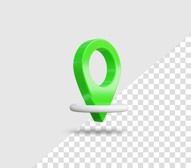 Ícone de localização de pino verde 3d realista