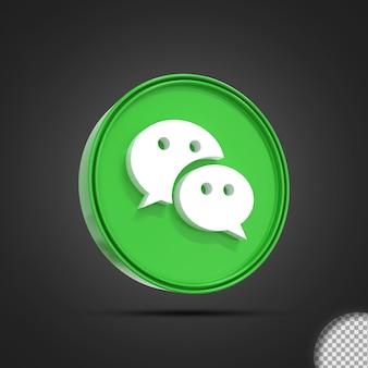 Ícone de logotipo de mídia social brilhante com renderização 3d