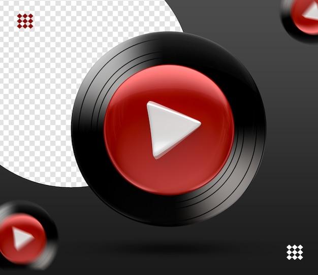 Ícone de logotipo de música do youtube 3d isolado
