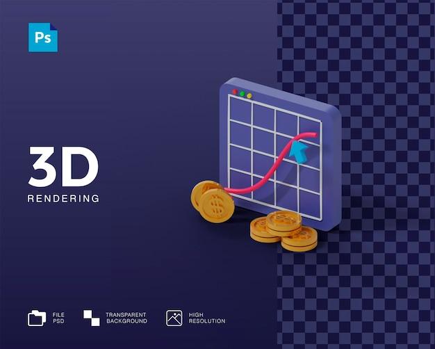 Ícone de lucro 3d em renderização 3d isolado