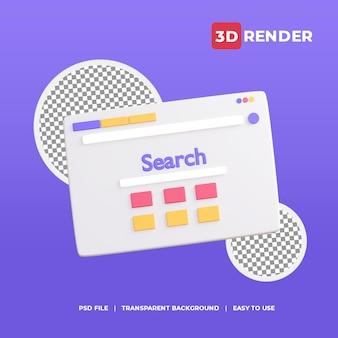 Ícone de mecanismo de pesquisa 3d com fundo transparente