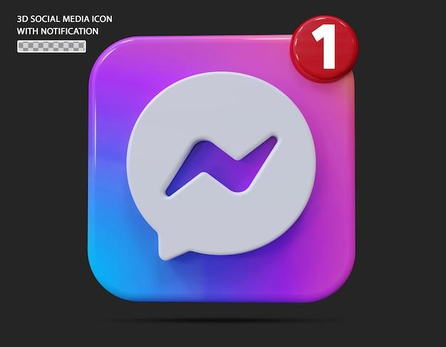 Ícone de mensagem com estilo 3d de notificação