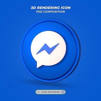 Ícone de mídia social do facebook messenger em renderização 3d
