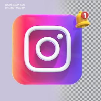 Ícone de mídia social do instagram com notificação de campainha 3d