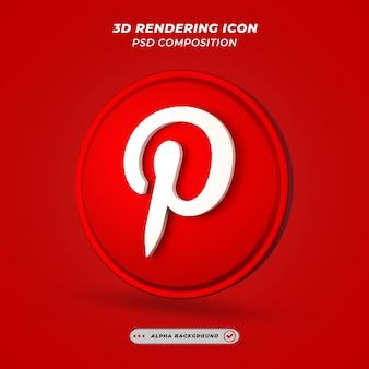 Ícone de mídia social do pinterest em renderização 3d