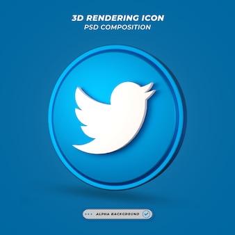 Ícone de mídia social do twitter em renderização 3d
