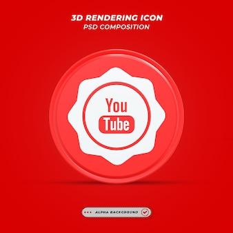 Ícone de mídia social do youtube em renderização 3d