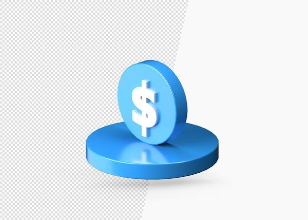 Ícone de moeda 3d realista de cor azul dólar isolado