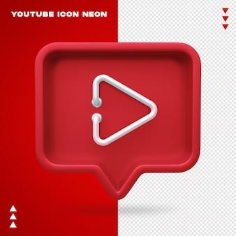 Ícone de néon do youtube isolado