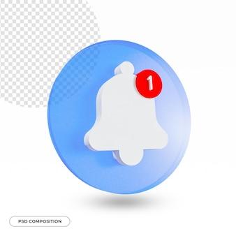 Ícone de notificação da campainha de alerta de alarme isolado na renderização 3d