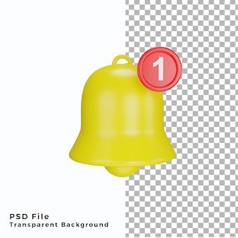 Ícone de notificação de sino 3d arquivos psd de renderização de alta qualidade