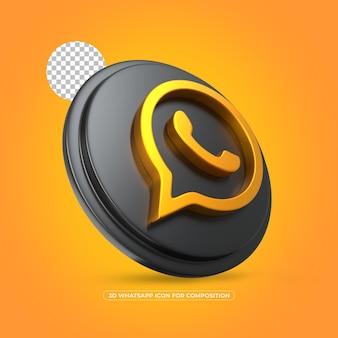 Ícone de ouro isolado do whatsapp renderizado em 3d