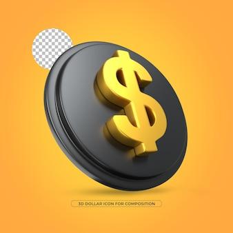 Ícone de ouro renderizado 3d com moeda dólar isolado