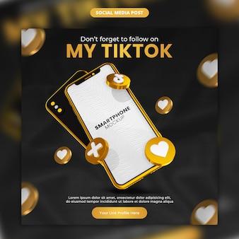 Ícone de ouro tiktok renderização 3d e mídia social para smartphone e modelo de postagem do instagram