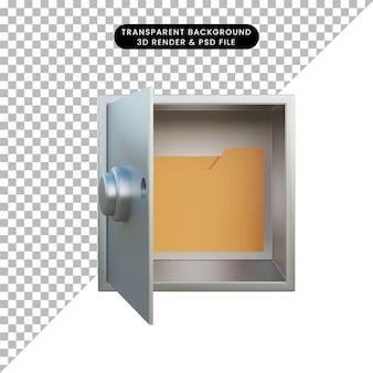 Ícone de pasta de ilustração 3d na caixa de segurança