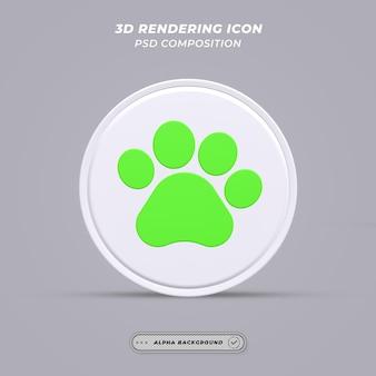 Ícone de pata de cachorro em renderização 3d