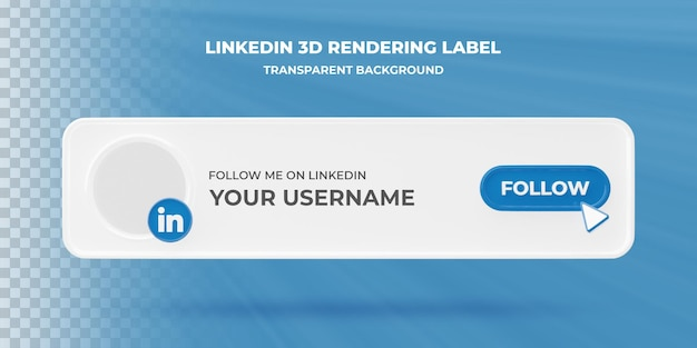 Ícone de pesquisa de banner banner de renderização 3d do linkedin isolado