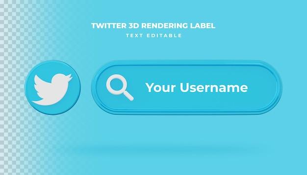 Ícone de pesquisa de banner banner de renderização 3d do twitter isolado