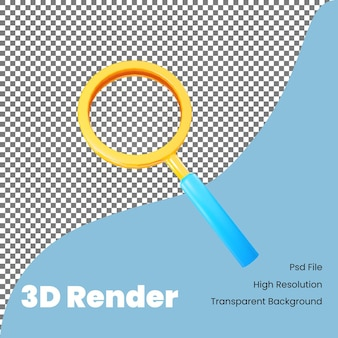 Ícone de pesquisa de renderização 3d para comércio eletrônico