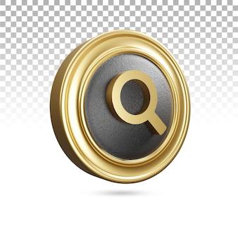 Ícone de pesquisa dourado em renderização 3d