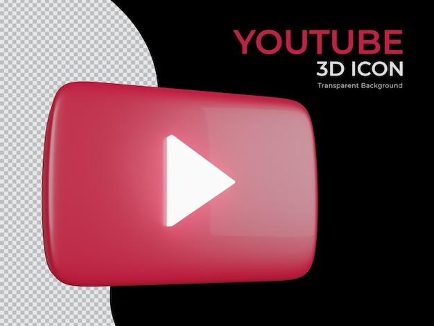 Ícone de png de fundo transparente do youtube renderizado em 3d