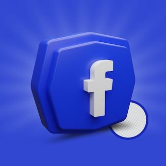 Ícone de polígono do facebook renderização em 3d