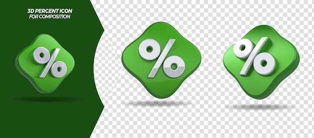 Ícone de porcentagem de renderização 3d para composição geral