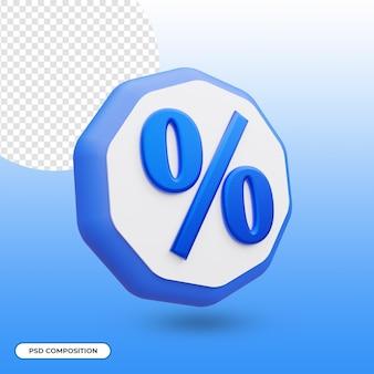Ícone de porcentagem isolado em renderização 3d Psd Premium