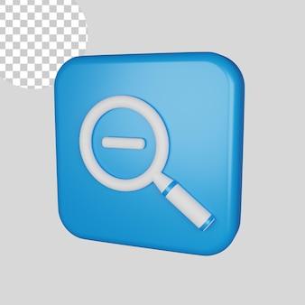 Ícone de redução de zoom 3d