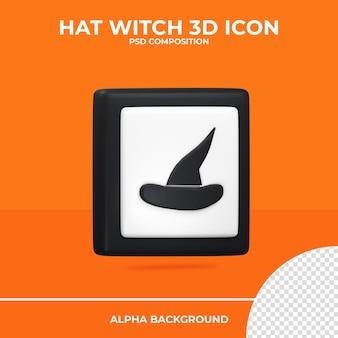 Ícone de renderização 3d da bruxa do chapéu halloween premium psd