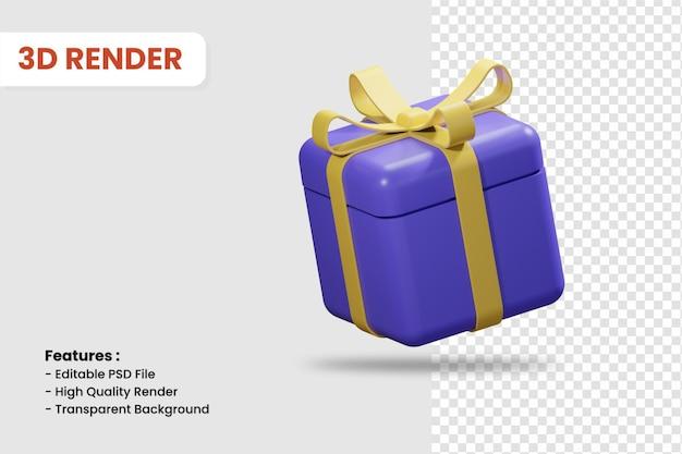 Ícone de renderização 3d da caixa de presente isolada. adequado para compras online ou outro design de ilustração