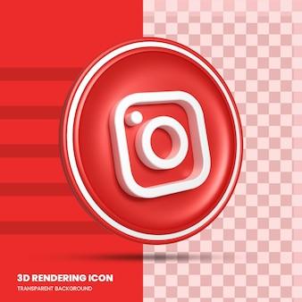 Ícone de renderização 3d da mídia social do instagram