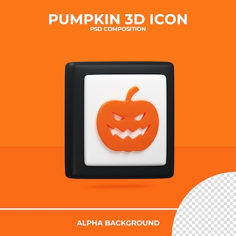 Ícone de renderização 3d de abóbora halloween premium psd