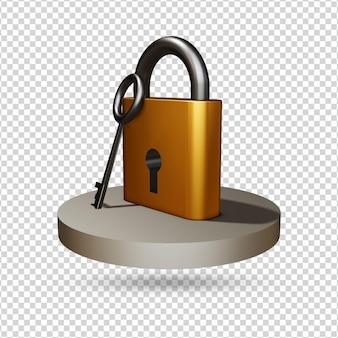 Ícone de renderização 3d de bloqueio e chave