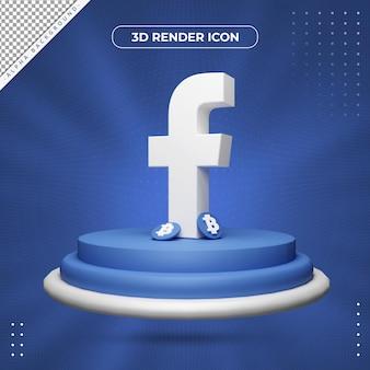 Ícone de renderização 3d do facebook