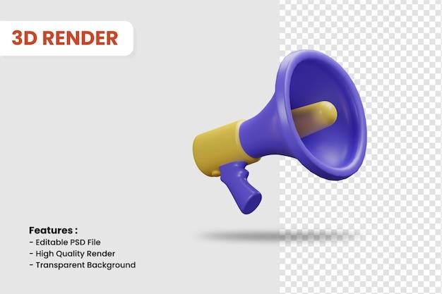 Ícone de renderização 3d do megafone isolado. adequado para ilustração de promoção de negócios ou compras online.