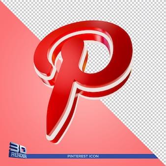 Ícone de renderização 3d do pinterest em renderização 3d