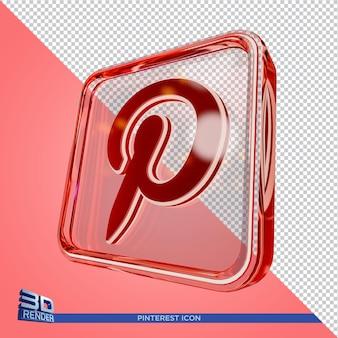 Ícone de renderização 3d do pinterest na caixa de vidro em renderização 3d