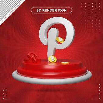 Ícone de renderização 3d do pinterest