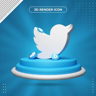 Ícone de renderização 3d do twitter