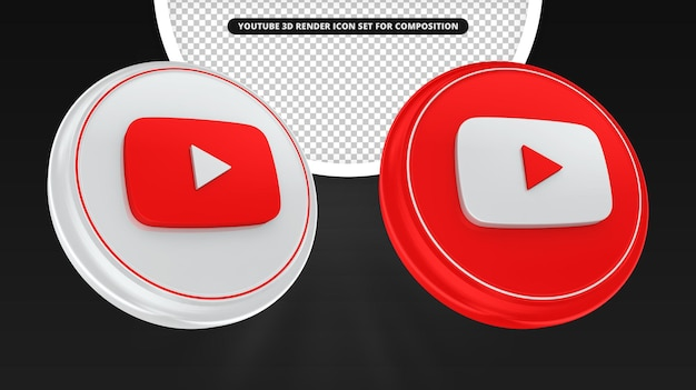 Ícone de renderização 3d do youtube para composição