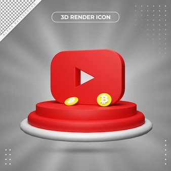 Ícone de renderização 3d do youtube