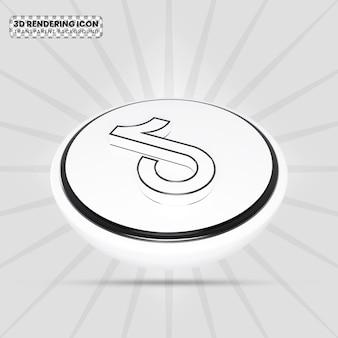 Ícone de renderização 3d em preto e branco tiktok