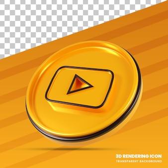 Ícone de renderização 3d moderno do youtube