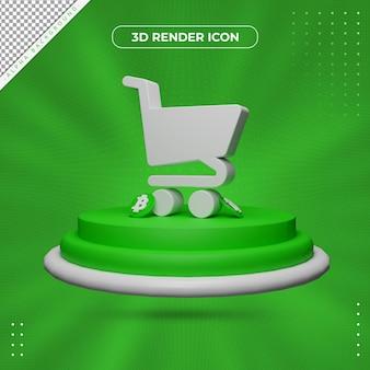Ícone de renderização de carrinho 3d