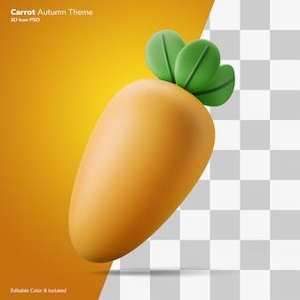 Ícone de renderização de ilustração 3d cenoura outono editável isolado