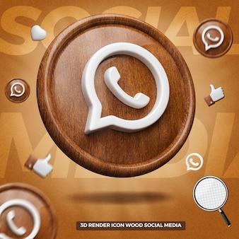 Ícone de renderização em 3d do whatsapp no círculo de madeira esquerdo