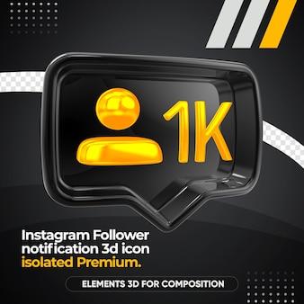 Ícone de renderização esquerdo de notificação de seguidor do instagram isolado