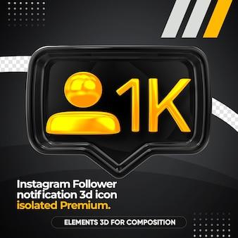 Ícone de renderização frontal de notificação de seguidor do instagram isolado
