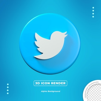 Ícone de renderização isolado 3d do twitter